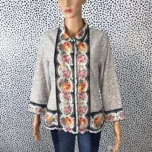Anthro || Odille floral button up blouse size 12